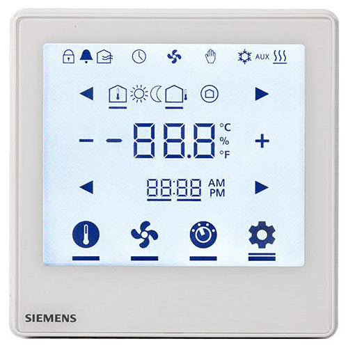 西門子 LCD顯示 全觸控 室內溫控 Siemens Flush Mount Touch screen room thermostat RDF800